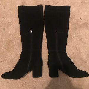 White House Black Market black suede boots, size 6